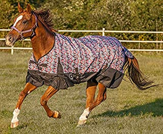 Chicks Saddlery Showman Red/Black Southwest 1200 Denier Waterproof Turnout Blanket with 300 Grams Fill - Horse