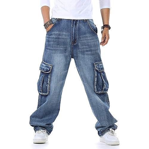 f5474d229131d Men s Baggy Hip Hop Jeans Plus Size 30-46 Multi Pockets Skateboard Cargo  Jeans for