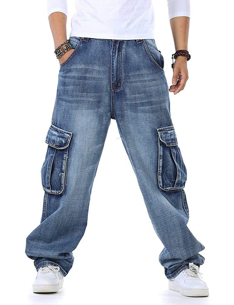 Men's Baggy Hip Hop Jeans Plus Size 30 46 Multi Pockets Skateboard Cargo Jeans for Men Tactical Denim Joggers