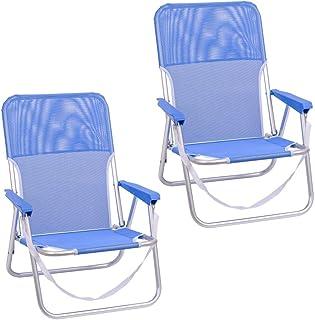 Pack de 2 sillas Playa fijas de Asiento bajo de Aluminio y textileno de 54x40x71 cm (Azul)