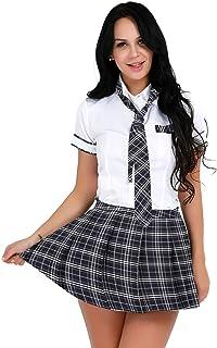 TTAO Women's School Girls Uniform Cosplay Costume Short Sleeve T-Shirt with Tartan Skirt Outfit