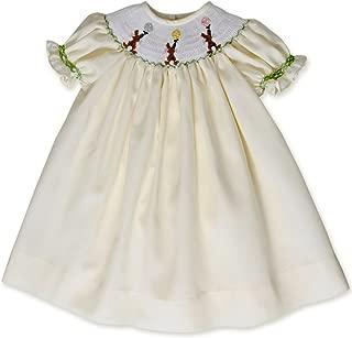 Baby Girls Hand Smocked Easter Bunny Bishop Dress Pastel Yellow
