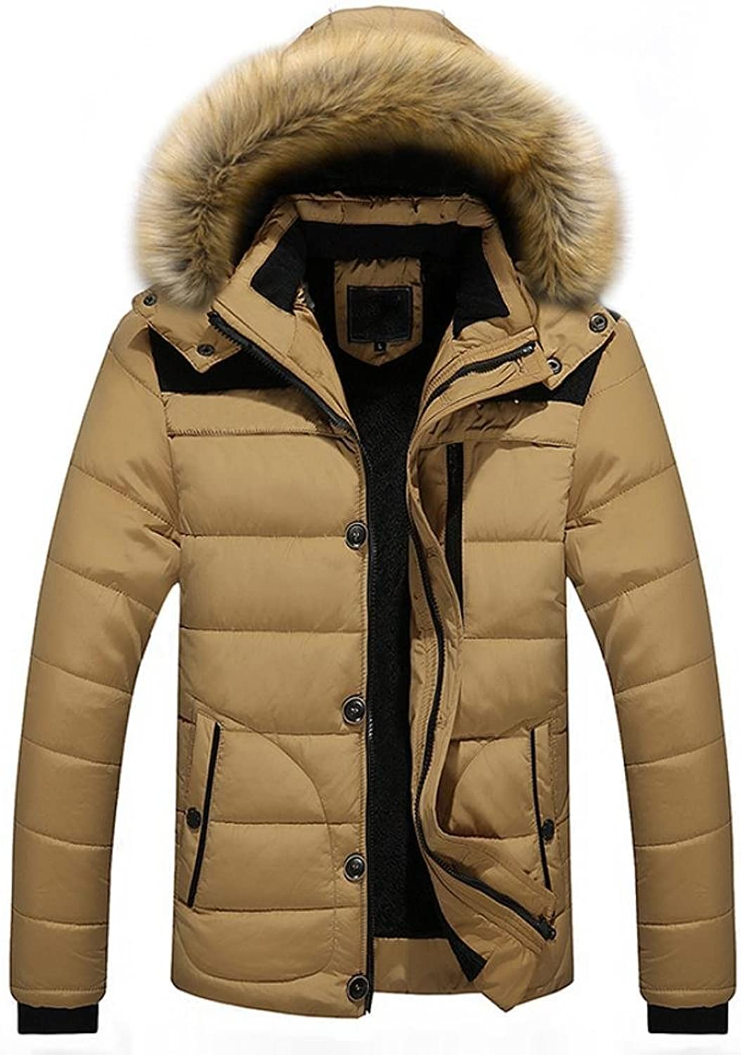 13bcd8466e6 Men's Fur Hooded Jacket Coats Outerwear Winter Winter Winter Warm Thick  Outwear for Mens 93b6d6