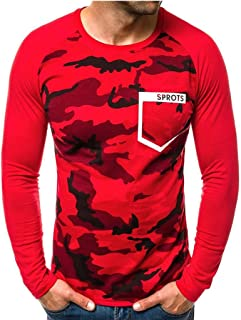 SPE969 Camouflage Crewneck Sweater for Men,Winter Long Sleeve Letter Sweatshirt Top Tee Outwear Blouse