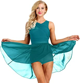 ACSUSS Lyrical Women's Dance Dress Illusion V-Neck Chiffon Asymmetric Skirted Leotard Modern Contemporary Dresses