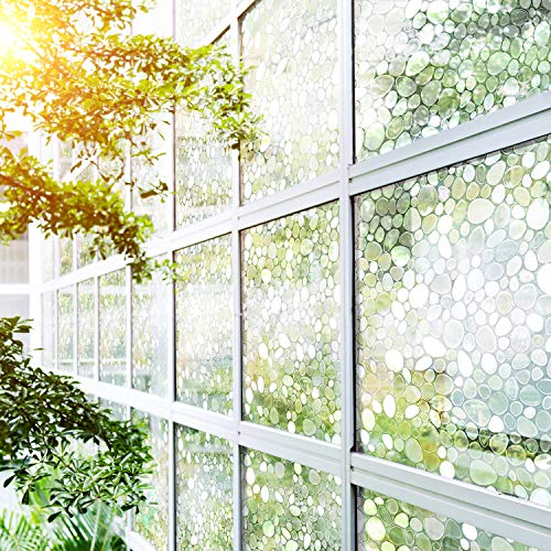 Mopalwin Fensterfolie Selbstkletend 3D Anti-Uv - Sichtschutzfolie Blickdicht Dekorfolie Glasaufkleber Statisch Selbsthaftend Ohne Kleber Schutz Kiesel (45,5 * 220 Cm)