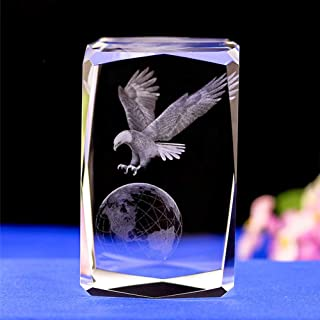 Duosuny 3D Laser Crystal Earth Hawk ith Gift Box, Anniversary & Paperweight, Christmas Birthday Friendship Gift