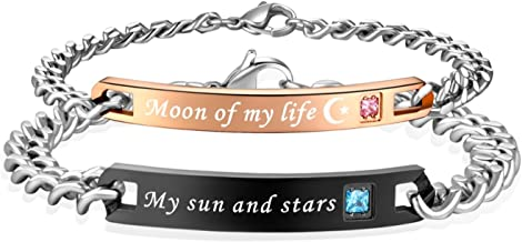 SunnyHouse Jewelry His & Hers Matching Set Stainless Steel My Sun and Stars Moon of My Life Couple Bracelet in a Gift Box