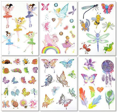 Glitter Temporary Tattoos for Girls - 6 Sheets Fun Sparkle Stickers - 60+ Shining Fairy Heart Butterfly Feathers Fake Tattoo Designs - Rainbow Flash Waterproof Transfers - Great Party Favors