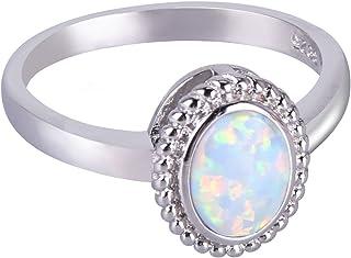 C·QUAN CHI Anelli con Opale Rotondo in Argento Sterling 925 Anelli con Gemme di Opale Bianco Blu Anelli con Pietre del Par...