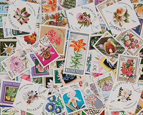Goldhahn 100 Blumen Briefmarken für Sammler