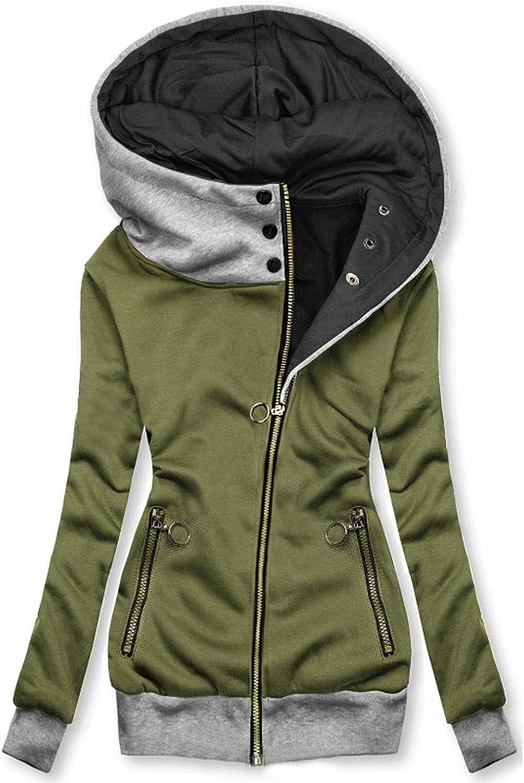 FABIURT Sweatshirt for Women Zip Up,Womens Fashion Hoodie Long Sleeve Color Block Hooded Sweatshirt Pockets Jacket Coat