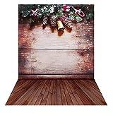 Andoer 1.5 * 2m Telón de Fondo de Fotografía Impresión Digital Navidad Campana Madera Piso Pared Patrón de la Impresión para Foto Estudio