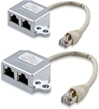 kwmobile 2X Cable de Red - Distribuidor de conexión LAN - Adaptador modulado T Cable LAN CAT5 - Adaptador RJ45 Macho a 2X Ethernet RJ 45 Hembra