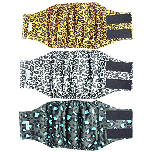 Leekalos MaleDogDiapers (3 Pack), High Absorbing DogBellyBandsforMaleDogs, Washable Reusable DogMaleWraps(Small, Leopard)