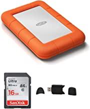 LaCie Rugged USB 3.0 1TB Mini Hard Drive + Sandisk Ultra 16GB Class 10 SD Memory Card + MMC MultimediaCard & SD Secure Digital Reader USB Bundle