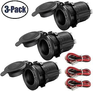 12V Cigarette Lighter Socket Car Marine Motorcycle ATV RV Lighter Socket Power Outlet Socket Receptacle Waterproof Plug 3Pack By MXRS