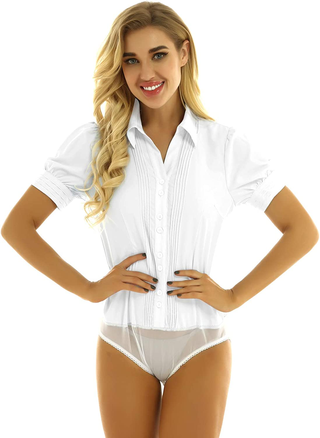 Hedmy Women Short Sleeve Button Down Shirts Career Stretch Easy Care Bodysuit Blouse