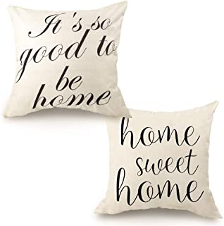 Best CDWERD 2pcs Farmhouse Throw Pillow Covers Linen Rustic Pillow Case 18 x 18 inches with Home Sweet Home and It