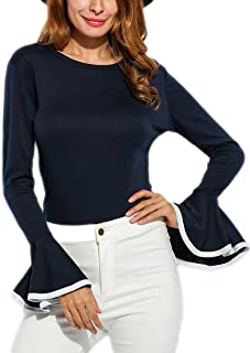 Women's Long Bell Sleeve Blouse Loose Trumpet T-Shirt Casual Solid Flare Tops