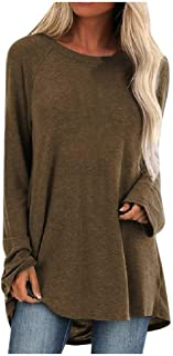 WINJUD Womens Tunic Tops Plus Size Irregular Hem Pullover Long Sleeve Crewneck Loose Blouse