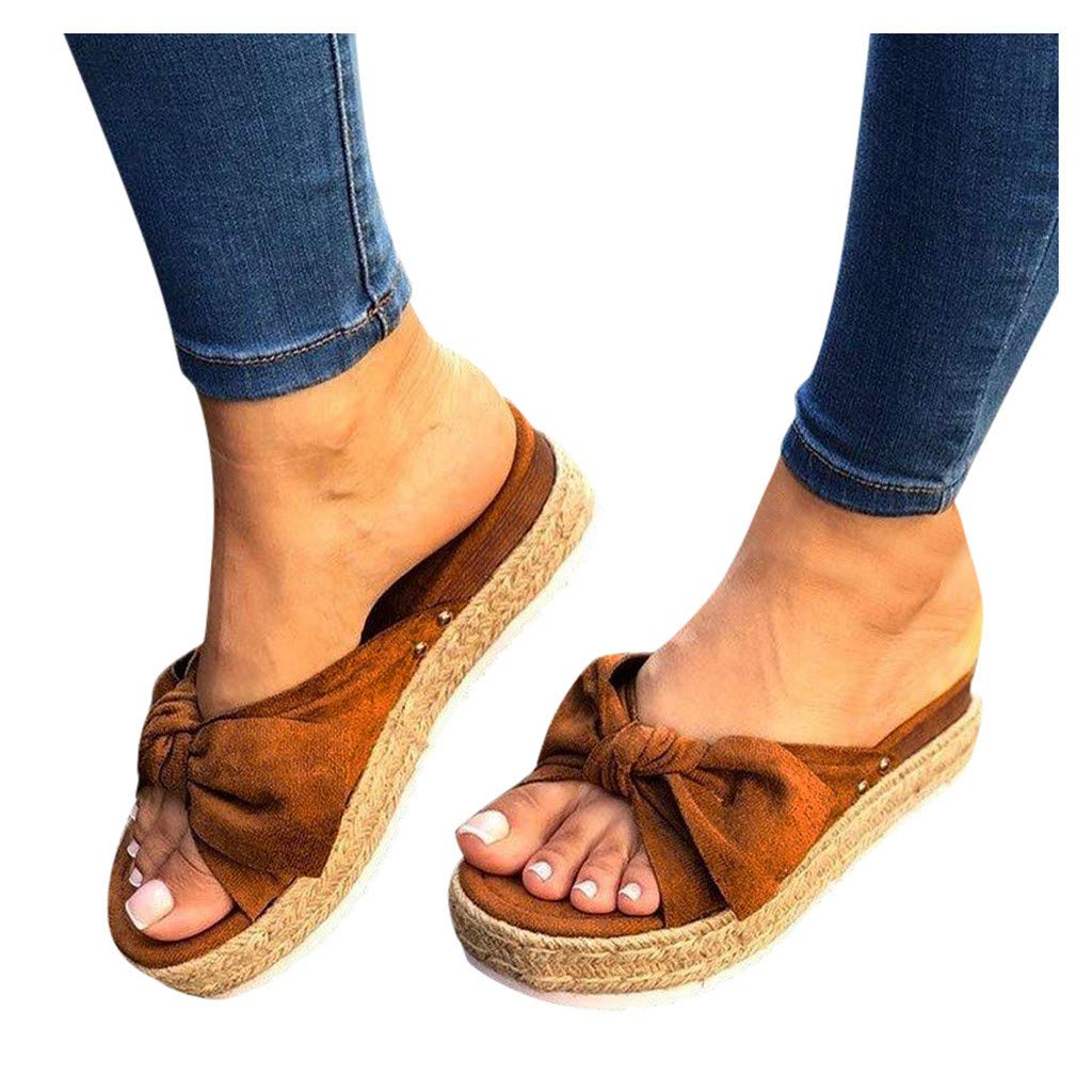 Kledbying Womens Slide Sandals Footbed Slip On Slides Leather Knot Bow Sandal Slippers Casual Footbed Shoes