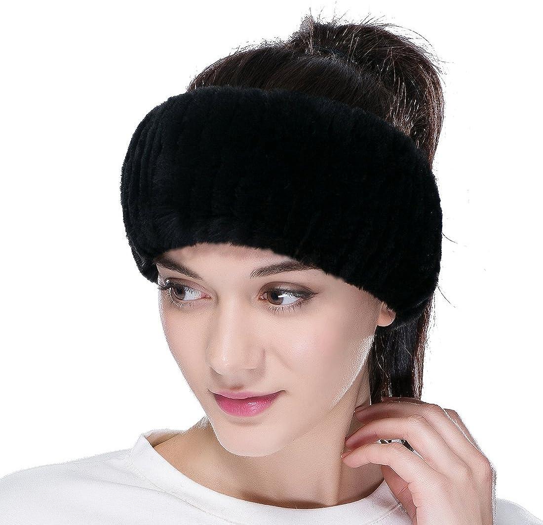 URSFUR Women's Knit Fur Head Band Rex Rabbit Fur Mutiple Color
