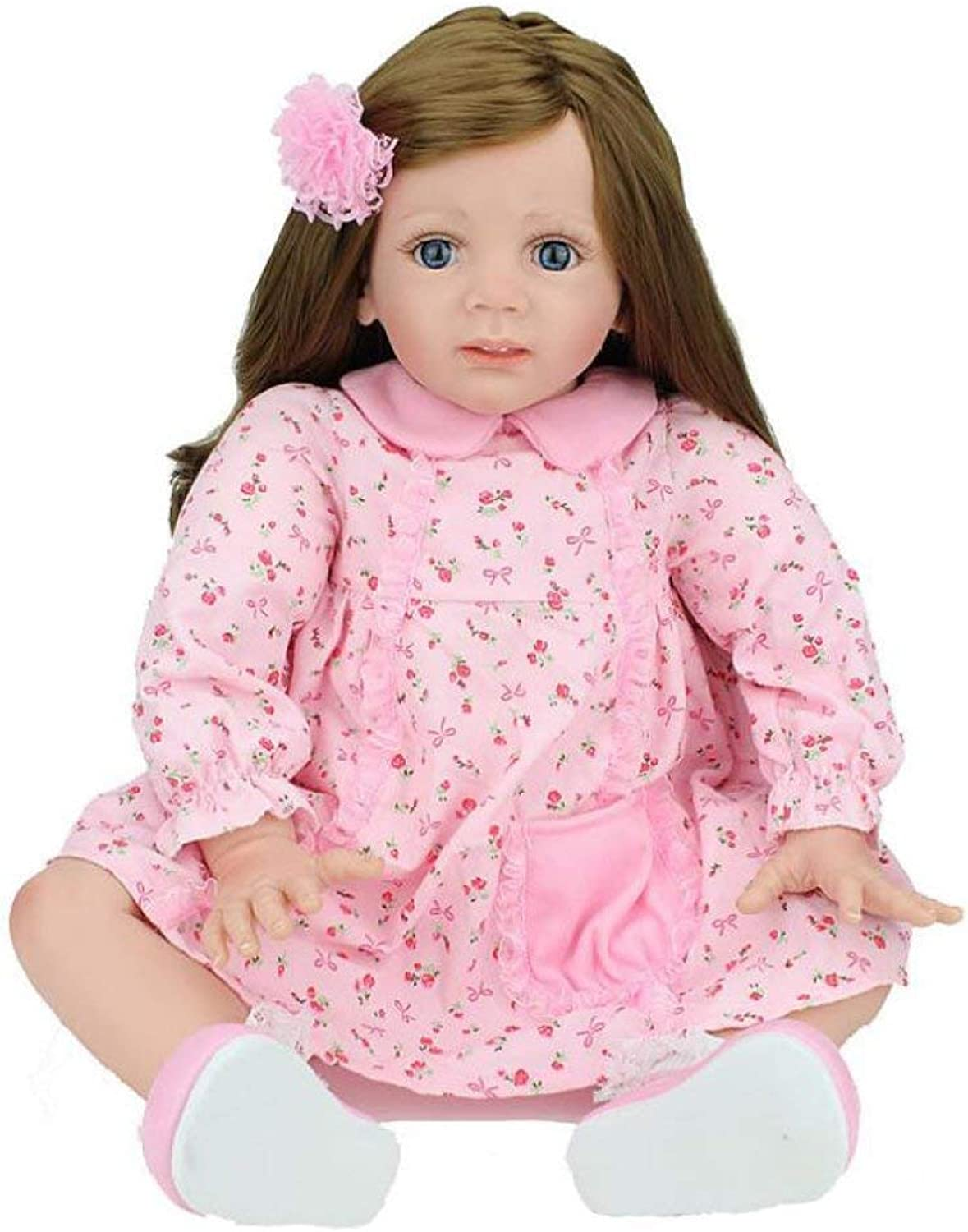 HSDDA Baby Play Toy 23 Inch Reborn Baby Dolls Realistic Handmade Lifelike Silicone Vinyl Baby Doll 60 Cm Soft Simulation Magnetic Mouth Eyes Open Girl Favorite Gift Baby Doll