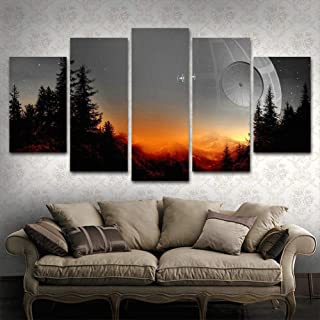 BOYH Modular Canvas Pictures Wall Art Framed 5 Pieces Star Wars Tree Death Star Painting Living Room Prints Movie Poster Home Decor