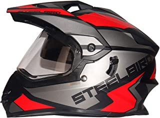 Steelbird SBH-13 / SB-42 Bang Silt Motocross Helmet in Matt Finish (Large 600MM, Matt Black/Grey with Plain Visor)