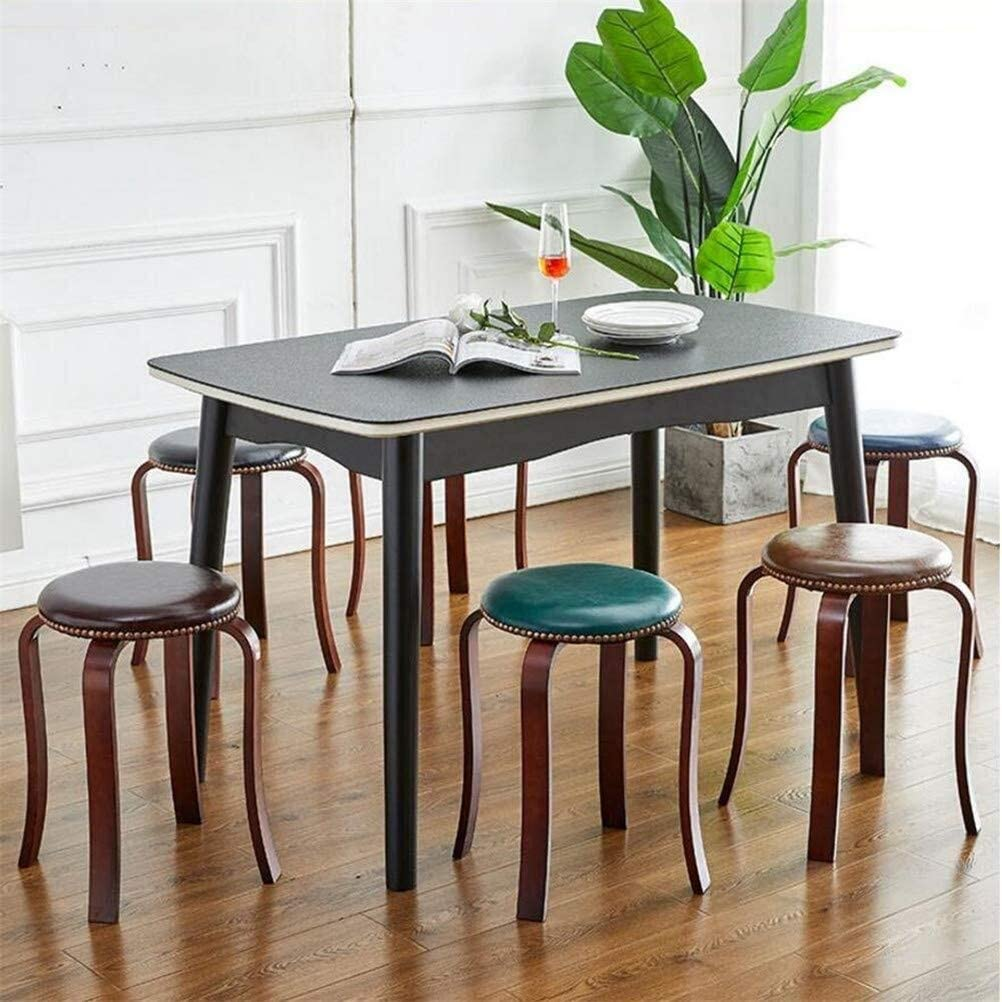 Sièges chaise à manger ronde tabouret tapissé PU rivets décoratifs maison adulte, paquet -2 (Color : Dark Brown) Blue