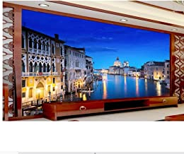 LSFHB Custom 3D Photo Wallpaper Room Murals Grand Canal Night Landscape Photo Living Room Sofa Tv Background Non-Woven Wallpaper Mural-150X120Cm