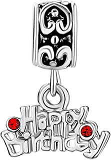 QueenCharms Birthday Cake Charm Happy Birthday Beads For Bracelets