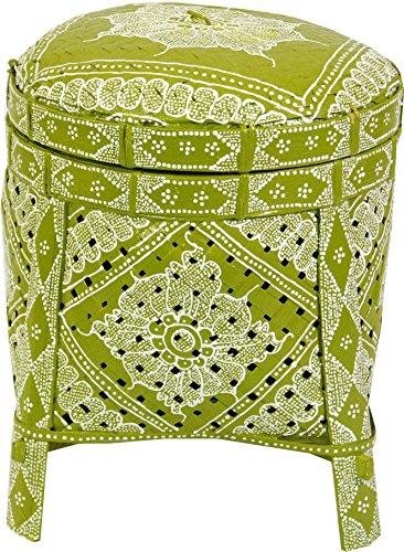 Guru-Shop Exotische Mand met Deksel in 2 Maten - Citroen, Groen, Maat: Klein (30x27x27 Cm), Manden