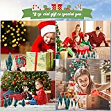 LOVEXIU Mini Weihnachtsbaum Deko,24 StüCk Miniatur Weihnachtsbaum KüNstlicher,Winter Ornamente Mini Modell Weihnachtsbaum Mini Tannenbaum füR Weihnachtsfeier Tischdeko,DIY,Schaufenster (GrüN/Weiss) - 7