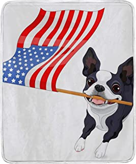 SKYDA Boston Terrier Running Flag Softest Warm Elegant Cozy Faux Fur Home Sofa Throw Blanket (50
