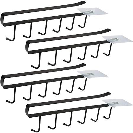 Lot de 4 Armoire Insert Porte-Tasses Porte-gobelet pour 6 Tasses Crochets de rangement pour Tasses Rangement Crochets pour Ustensiles de Cuisine Organiseur de Stockage Support de séchage Rack (Noir)