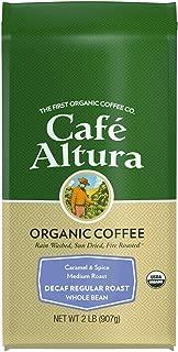 Cafe Altura Whole Bean Organic Coffee, Regular Roast Decaf, 2 Pound