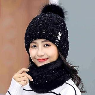 UKKO Winter hats Winter Hat Women'S Beanie Warm Skull Knitted Female Hat Letter Cap Outdoor Riding Cap Scarf Set