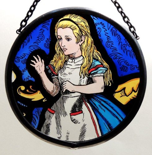 Decorative Hand Painted Stained Glass Window Sun Catcher/Roundel in an Alice in Wonderland Design.