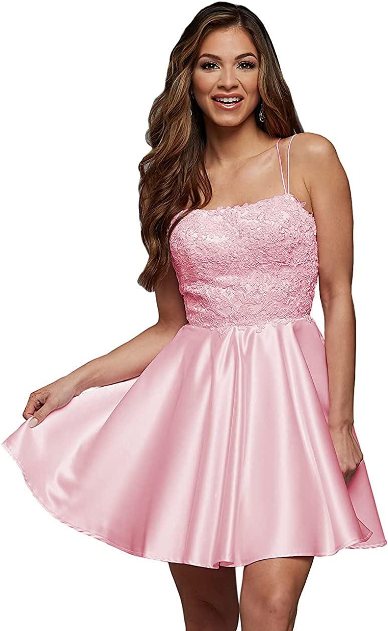 Clothfun Women's Lace Homecoming Dresses with Pockets Short A Line Satin Prom Dress for Juniors CY004