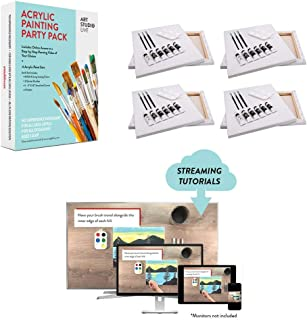 Art Studio Live Acrylic Paint Party Experience - Includes all Tools for Painting and Online Access to a Library of Step-by-Step Painting Videos | Diy Paint Night at Home | Best for Kids and Adults