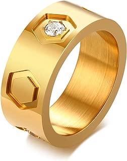 Men Stainless Steel Ring Hexagon Shape Bands