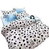 YOUSA Black and White Bedding Cartoon Milk Cow Bedding Set Full,4Pcs