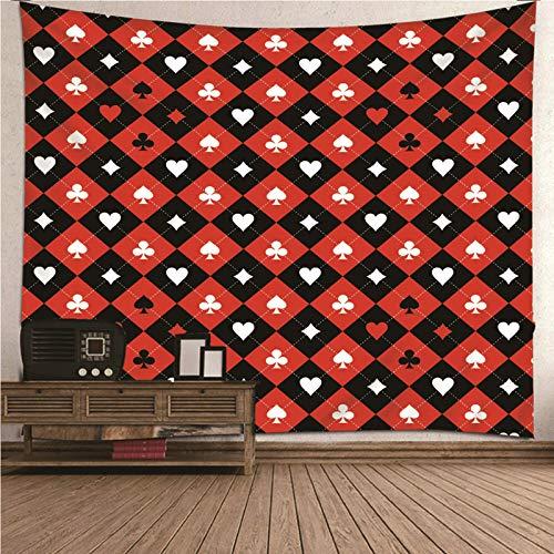Aimsie Tapiz de poliéster con diseño de póquer, 350 x 256 cm, color negro, rojo y blanco