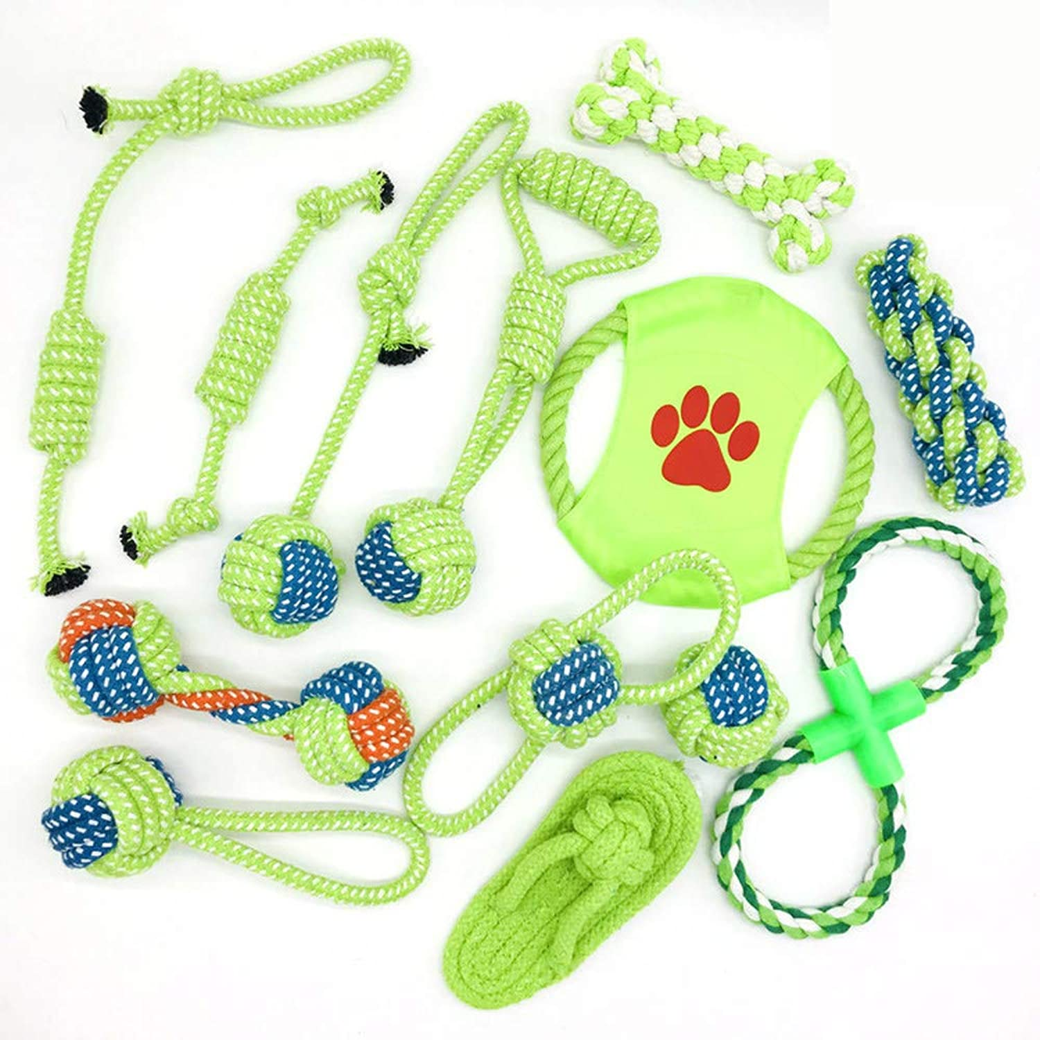 13Piece Dog Rope Toys Set, Pet Chew Rope Toys Puppy Braided Cotton Toys, NonToxic Interactive Health Teeth Cleaning for Small Medium Large Dogs