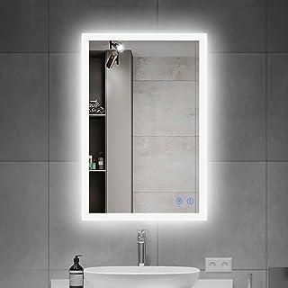 OKISS 28x20inch LED Bathroom Mirror Wall Mounted Mirror Bathroom Vanity Mirror with Smart Touch Control Brightness, Anti-F...