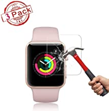 [3-Pack] Apple Watch 42mm Tempered Glass Screen Protector (Series 3 2 1) [9H Hardness] [Bubble Free] [Only Covers The Flat Area] Screen Protector Compatible Apple Watch 42mm