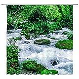 XCBN Planta Verde Cascada Cortina de Ducha jardín Bosque Cortina de baño Impermeable y a Prueba de Moho decoración de baño M4 150x200cm