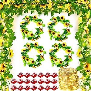 4 pieces 8.2 feet artificial sunflower vine hanging sunflower garland, 100 led string light and 20 pieces clear mini light clips for christmas decoration home kitchen garden office wedding wall decor silk flower arrangements